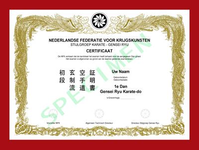 Certificaat Gensei Ryu