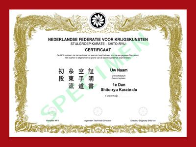 Certificaat Shito-ryu