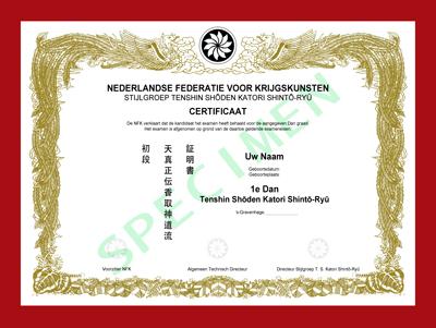 Certificaat T.S.K. Shintō-Ryū